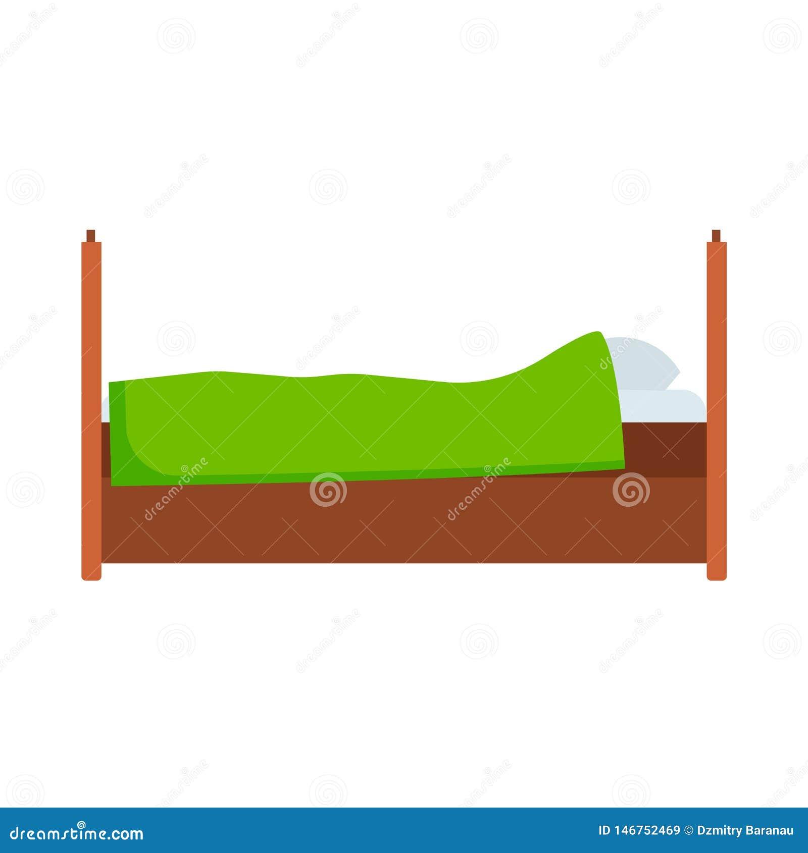 Apartamento c?modo del icono del vector de la vista lateral de la cama Interior de lujo del colch?n del pictograma del sitio del