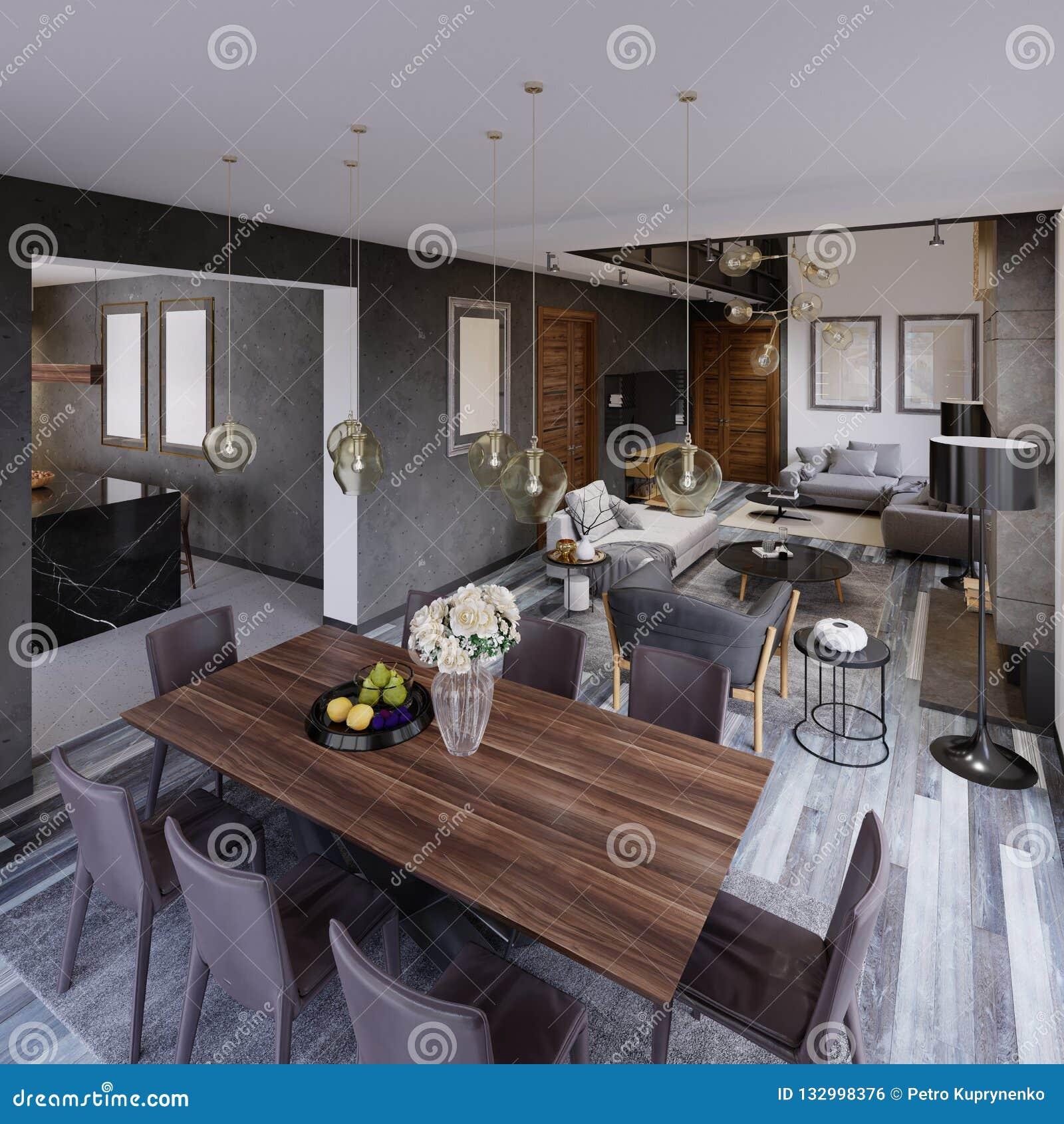 Apartamento Del Diseño Con Una Mesa De Comedor Y Una Sala De Estar ...