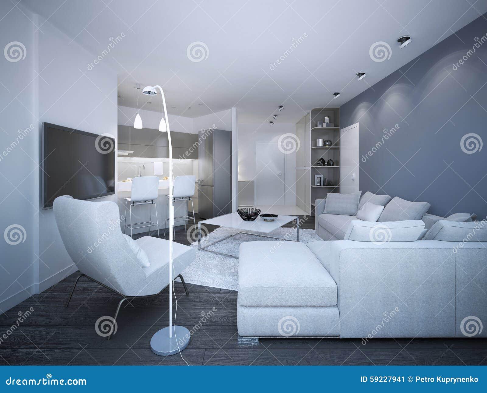 Download Apartamento-estudio Elegante Blanco Stock de ilustración - Ilustración de minimalist, contemporáneo: 59227941
