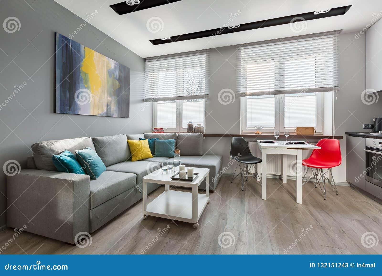 Apartamento-estudio moderno en gris