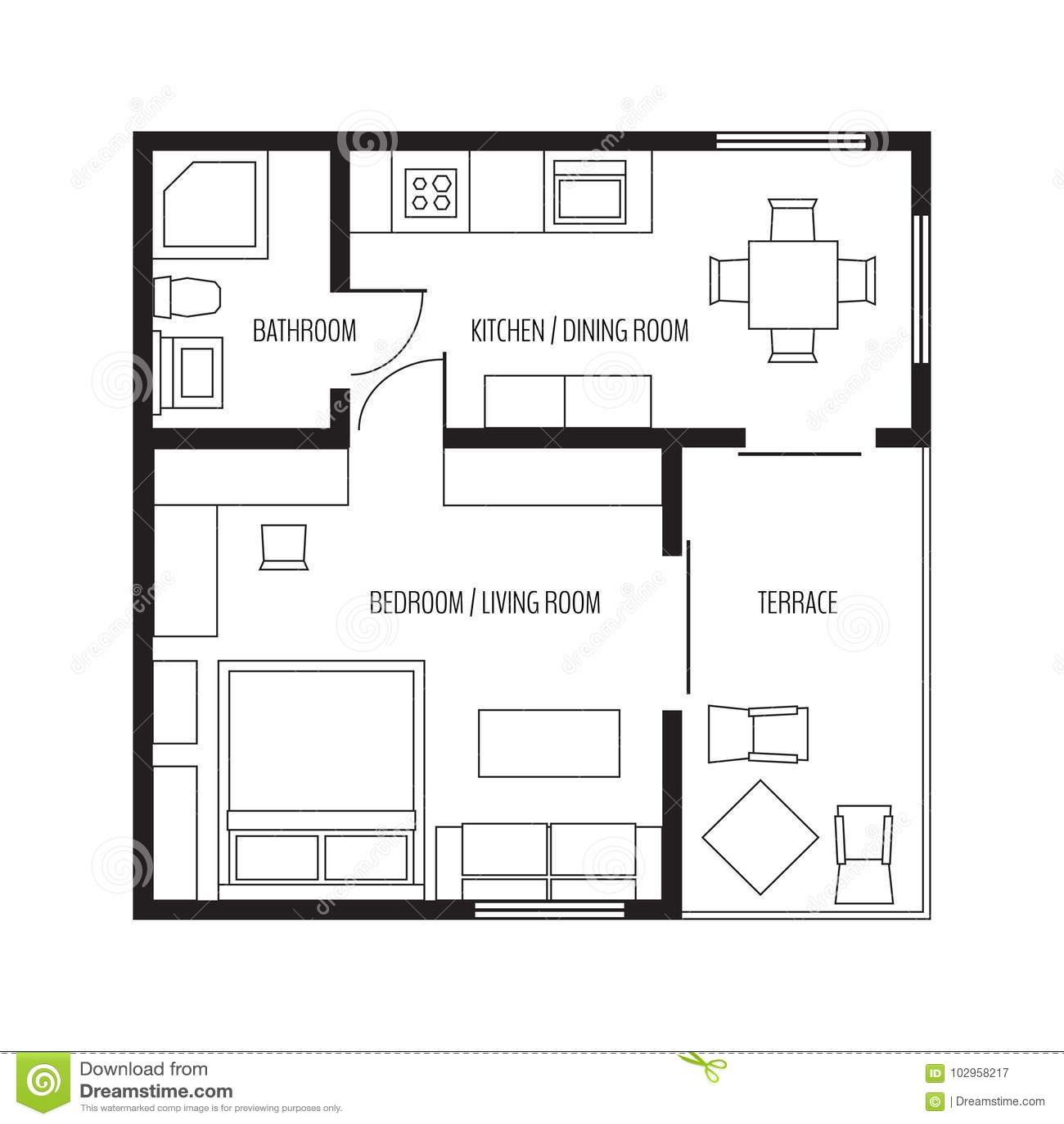 Apartamento liso da proje o do vetor plano da casa for Casa moderna 7x7