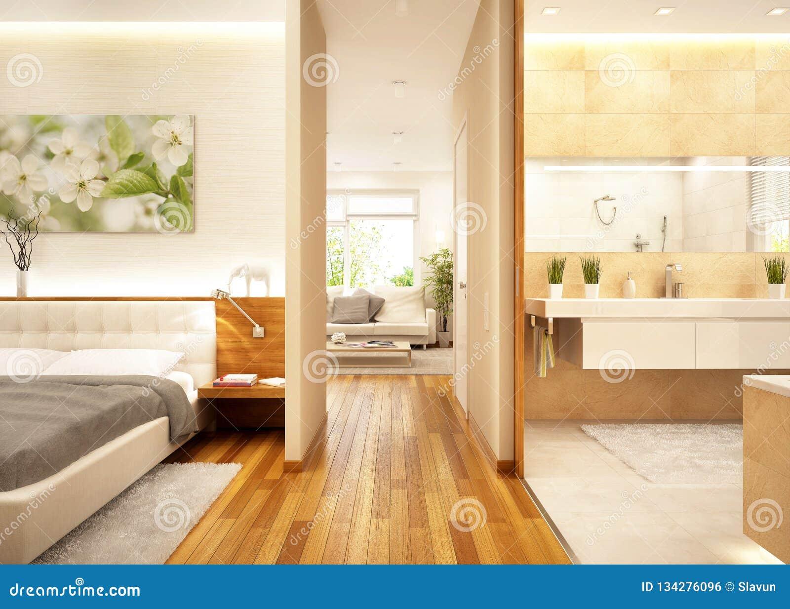 Apartamento moderno con la sala de estar, el cuarto de baño y el dormitorio
