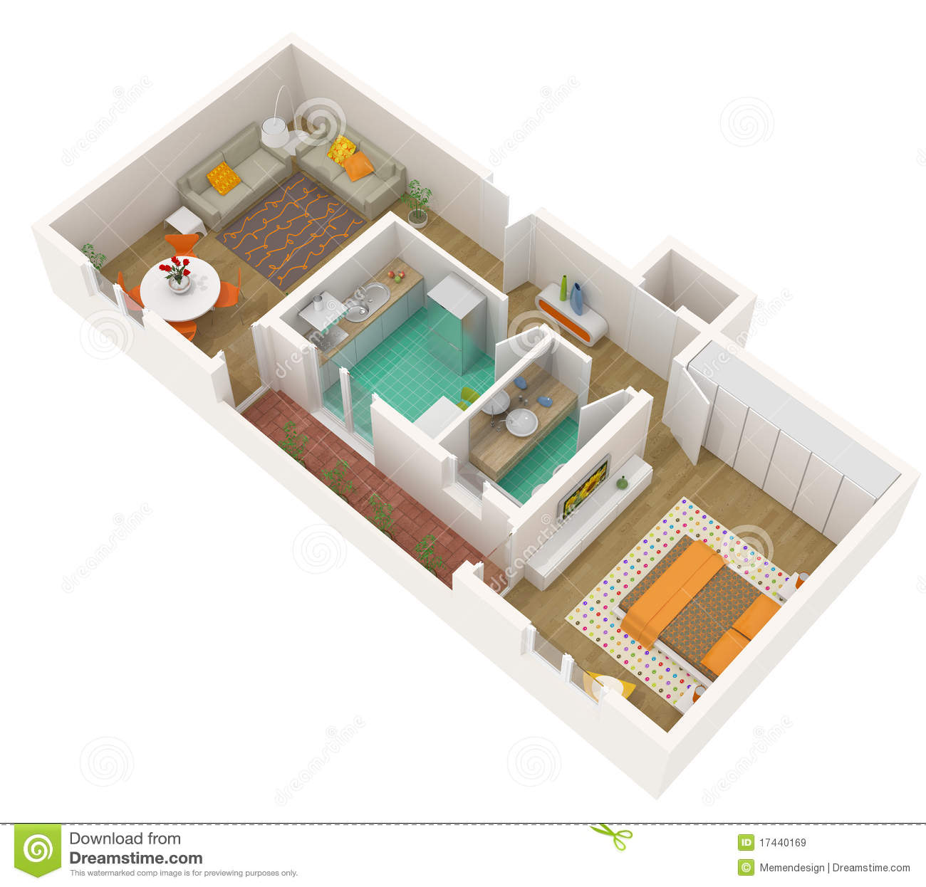 Apartment 3d Floor Plan Royalty Free Stock Images