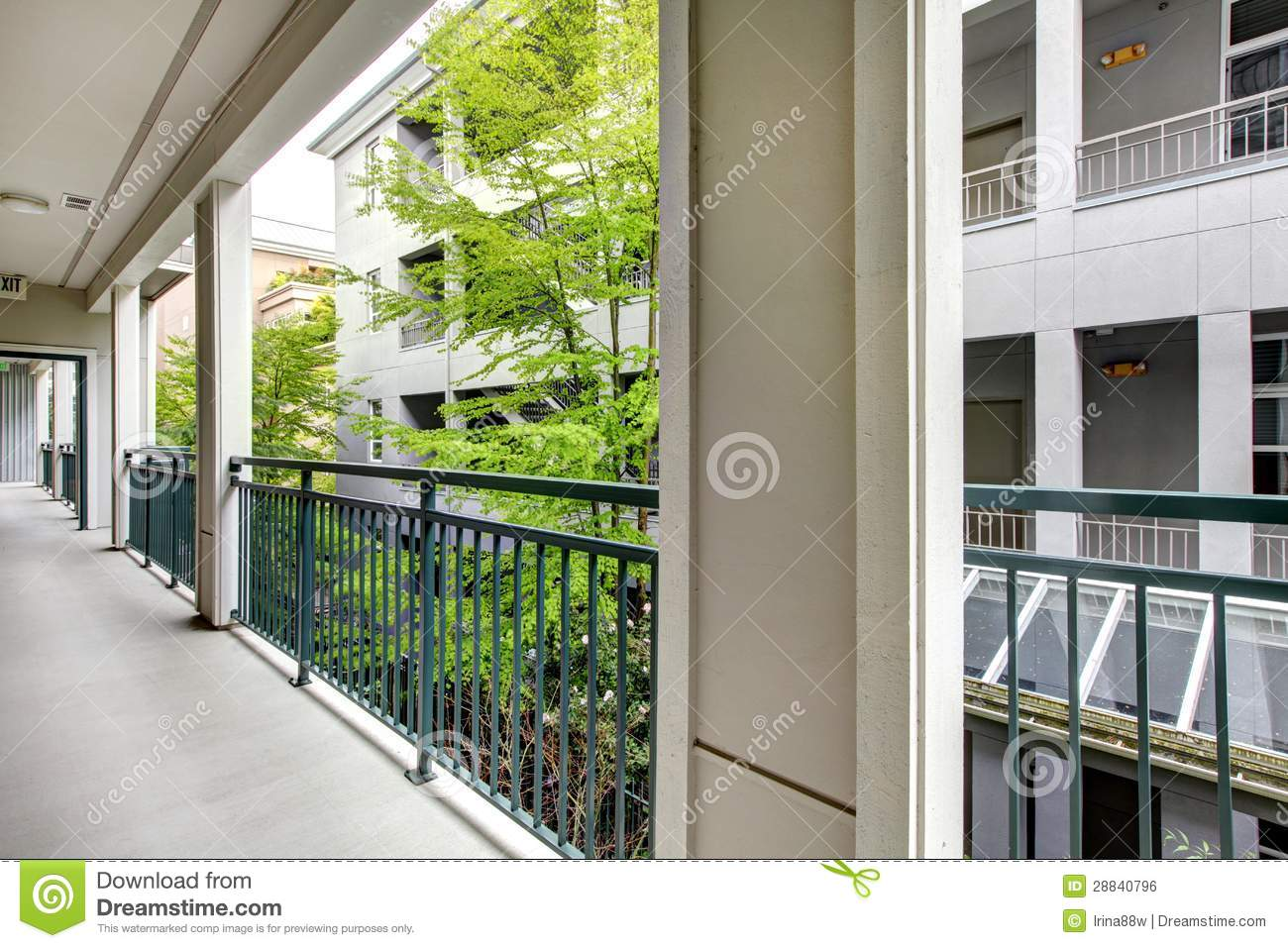 Apartment balcony with modern building court yard royalty for Building balcony
