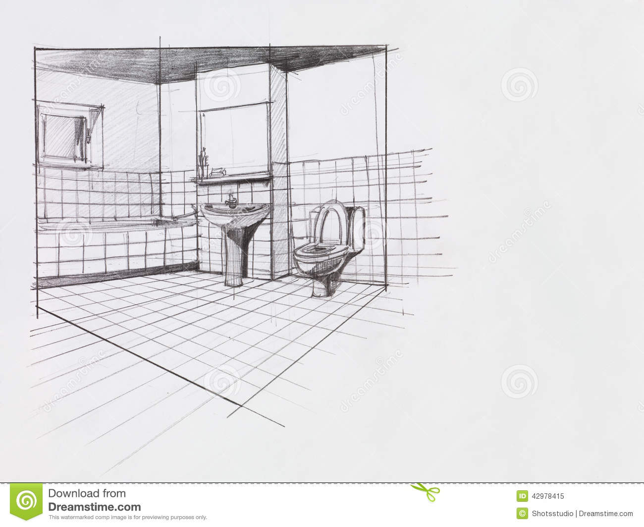 Bathroom perspective drawing - Apartment Bathroom Royalty Free Stock Photo