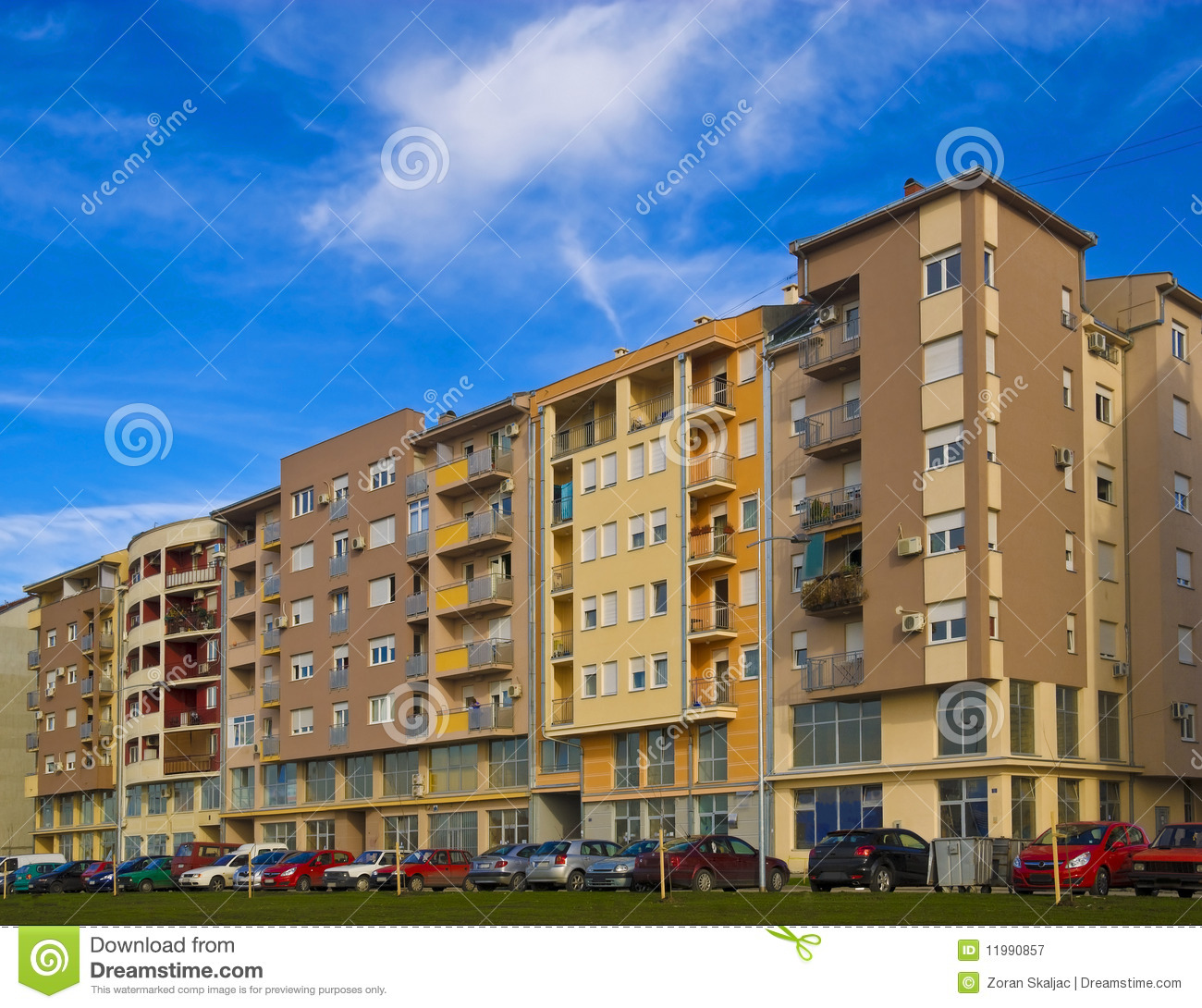 Old Apartment Building: Old Apartment Building With Round Corner Stock Image