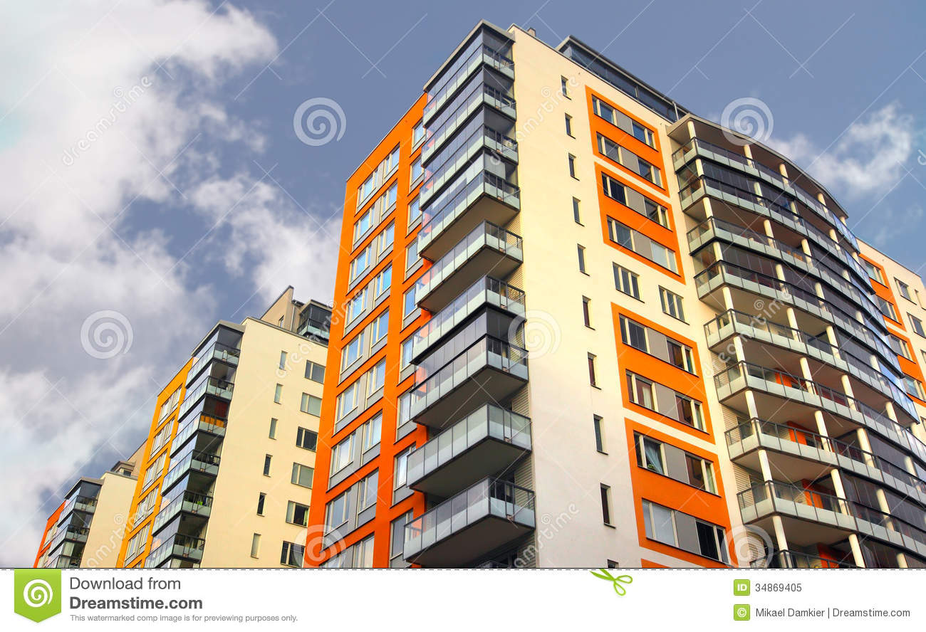 Apartment building with balconies stock image image for Building balcony