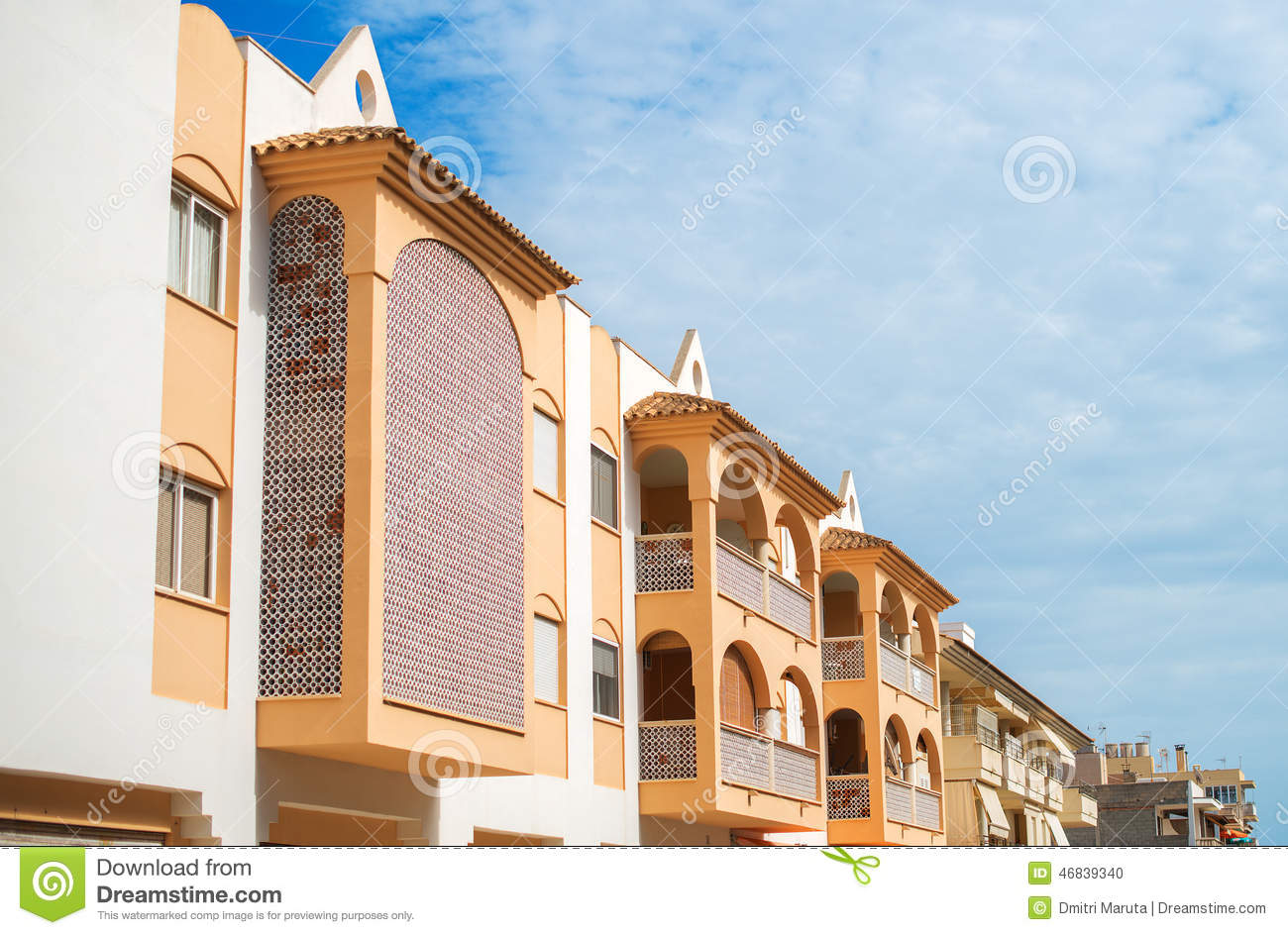 Apartment building with balconies stock photo image for Building balcony