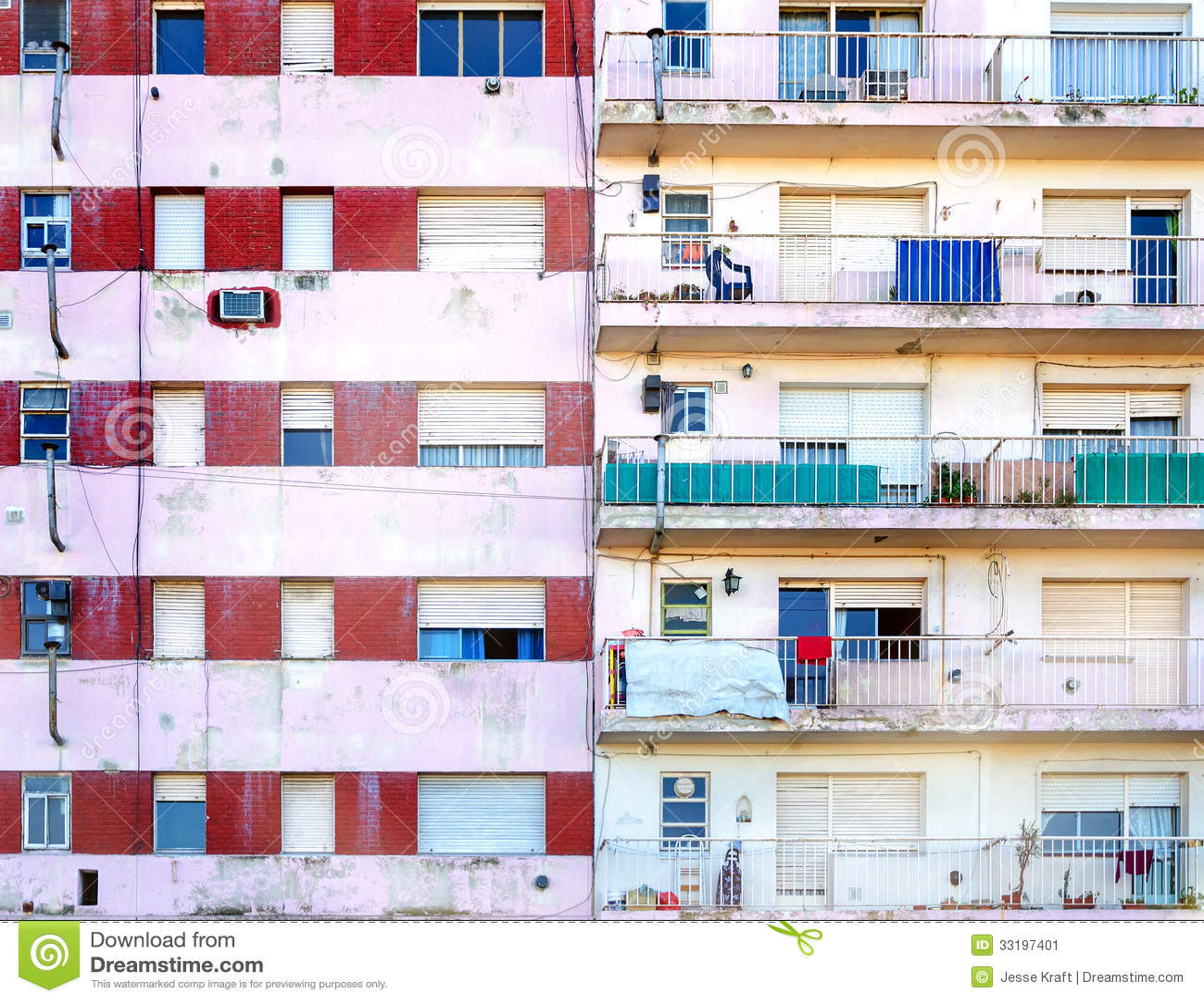 Poor Apartments: Apartment Building Facade Stock Image