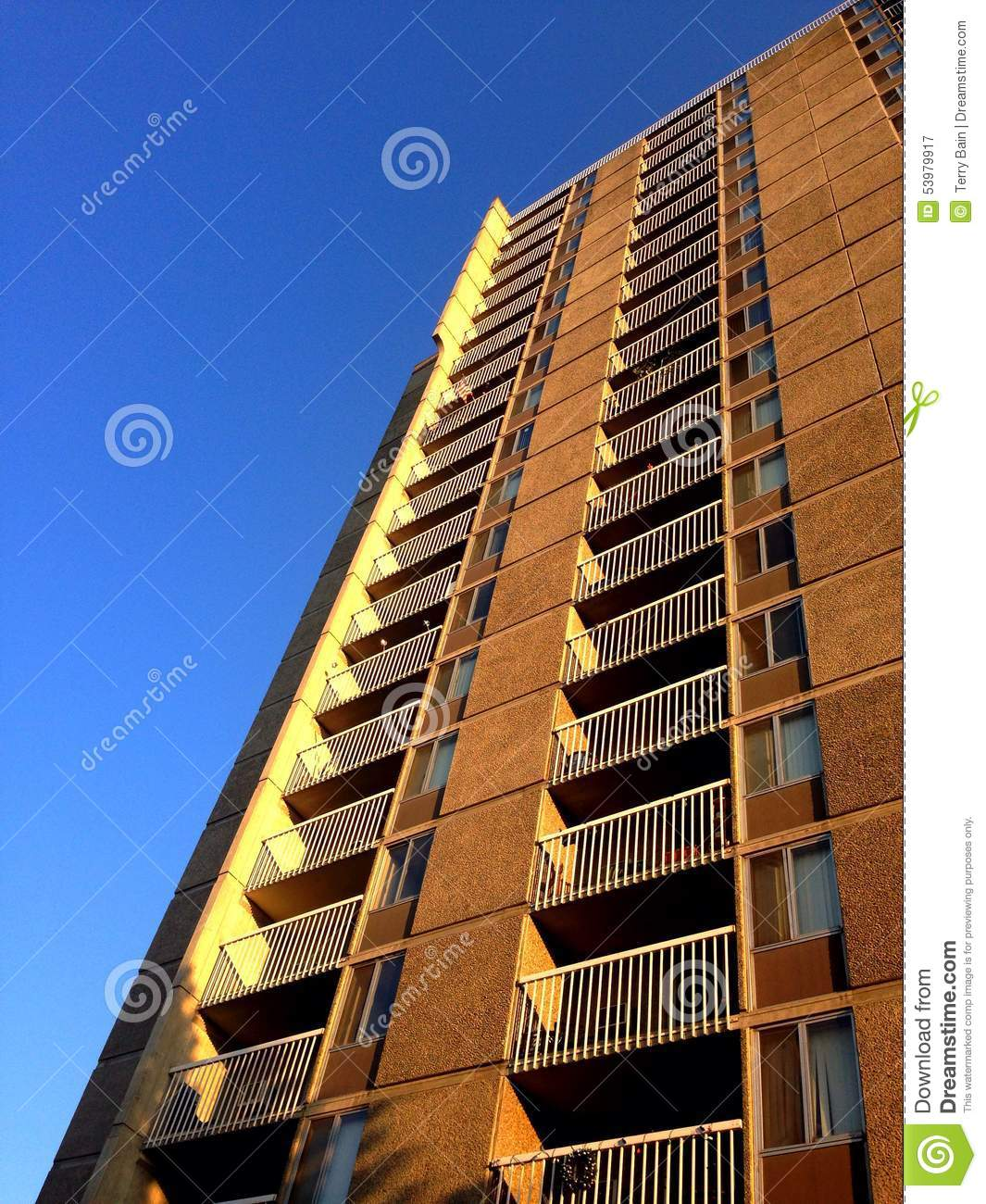 apartment building looking skyward stock photo image 53979917. Black Bedroom Furniture Sets. Home Design Ideas