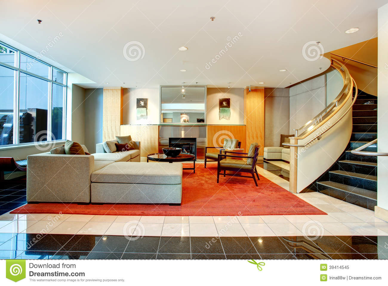 Download Apartment Building Main Lobby Area. Stock Image   Image Of Building,  Bright:
