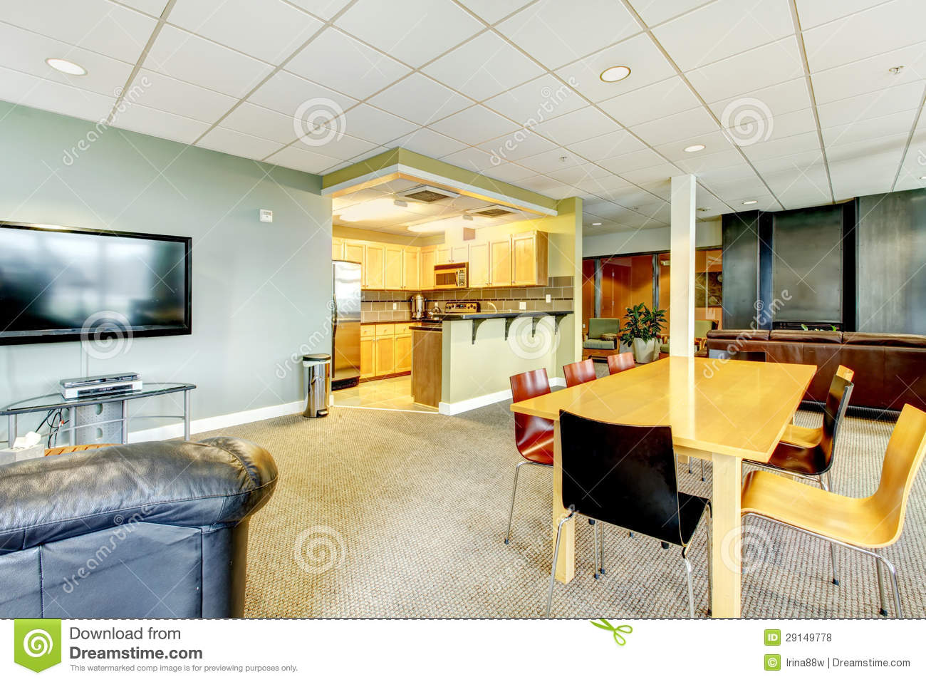 Apartment living room and kitchen - Apartment Building Modern Living Room With Kitchen General Area
