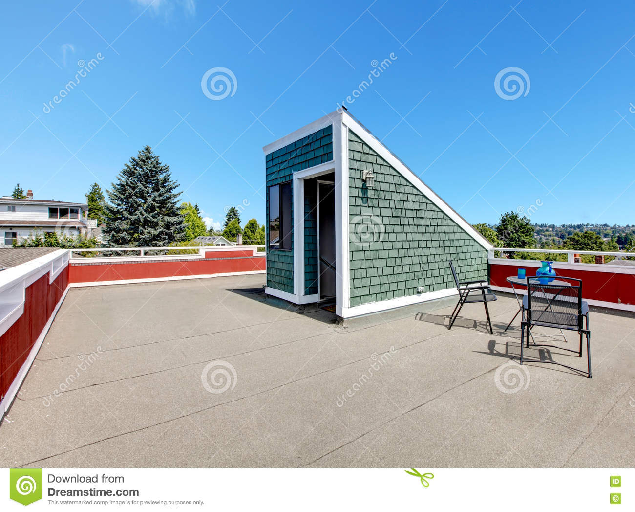 Apartment Building Roof Top Terrace Exterior Stock Photo Image