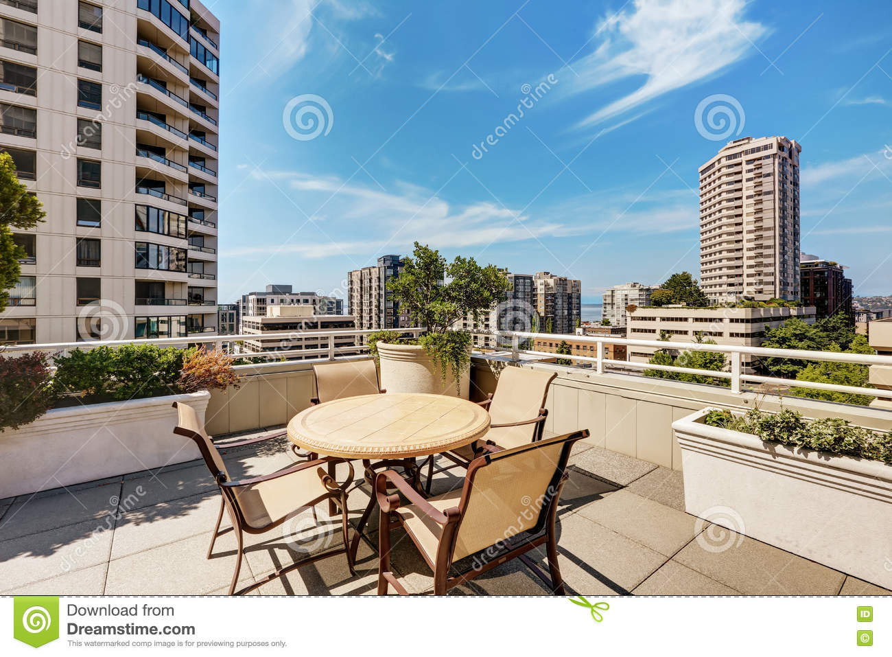 Apartment Building Roof apartment building roof top terrace exterior with patio table set