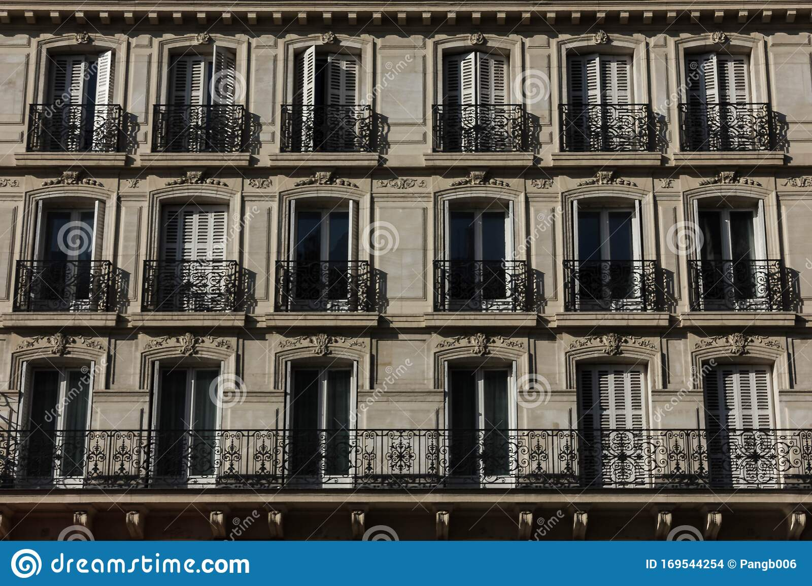 Apartment Buildings In France With Balconies Stock Photo Image Of French Apartment 169544254