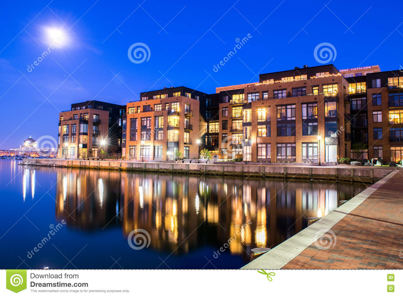 Download Apartment Buildings In The Inner Harbor Area In Baltimore, Maryl  Editorial Photography   Image