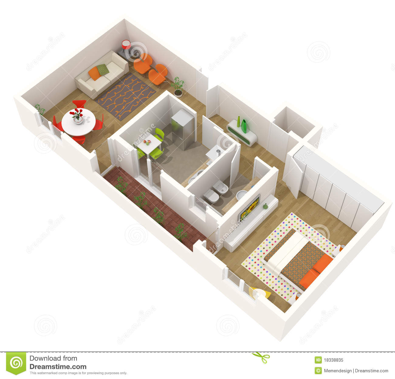 Apartment design 3d floor plan stock illustration for Studio apartment design 3d