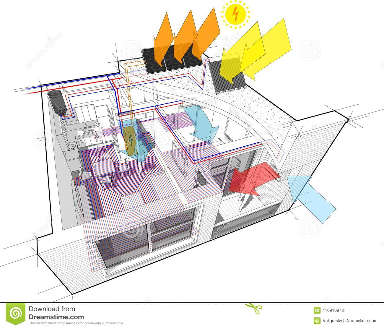 Apartment Diagram With Floor Heating And Photovoltaic And Solar ...