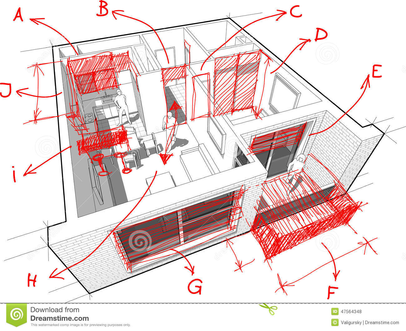 Apartment Diagram With Hand Drawn Architects Notes Stock