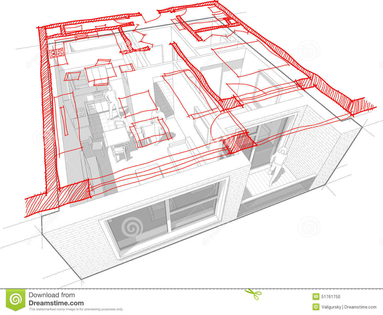 Apartment Diagram With Hand Drawn Floorplan Diagram Stock