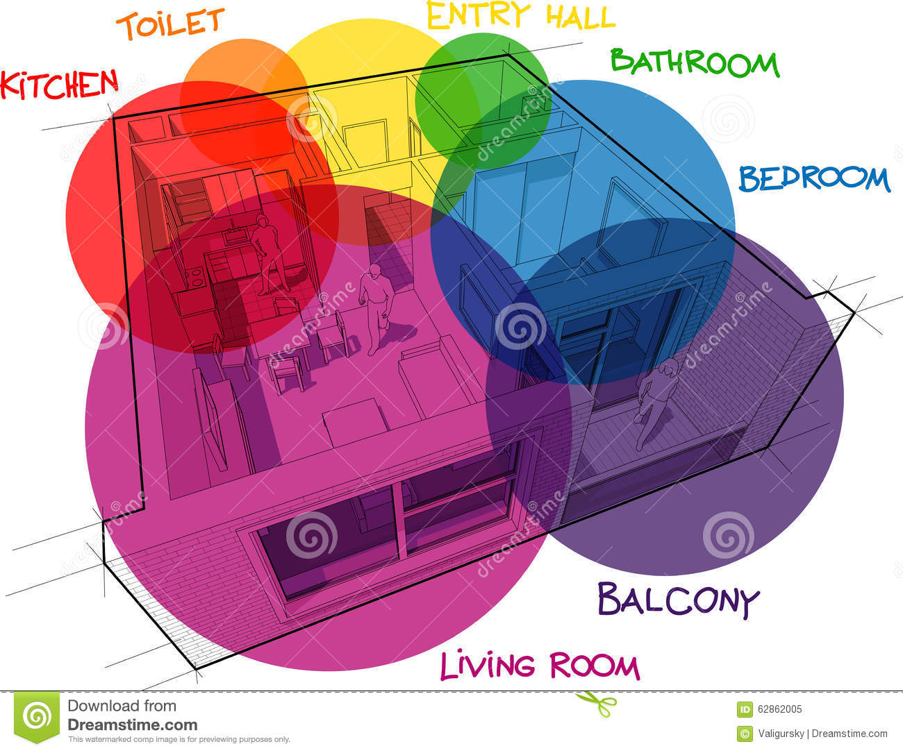 apartment diagram with hand drawn notes and zone bubbles stock image