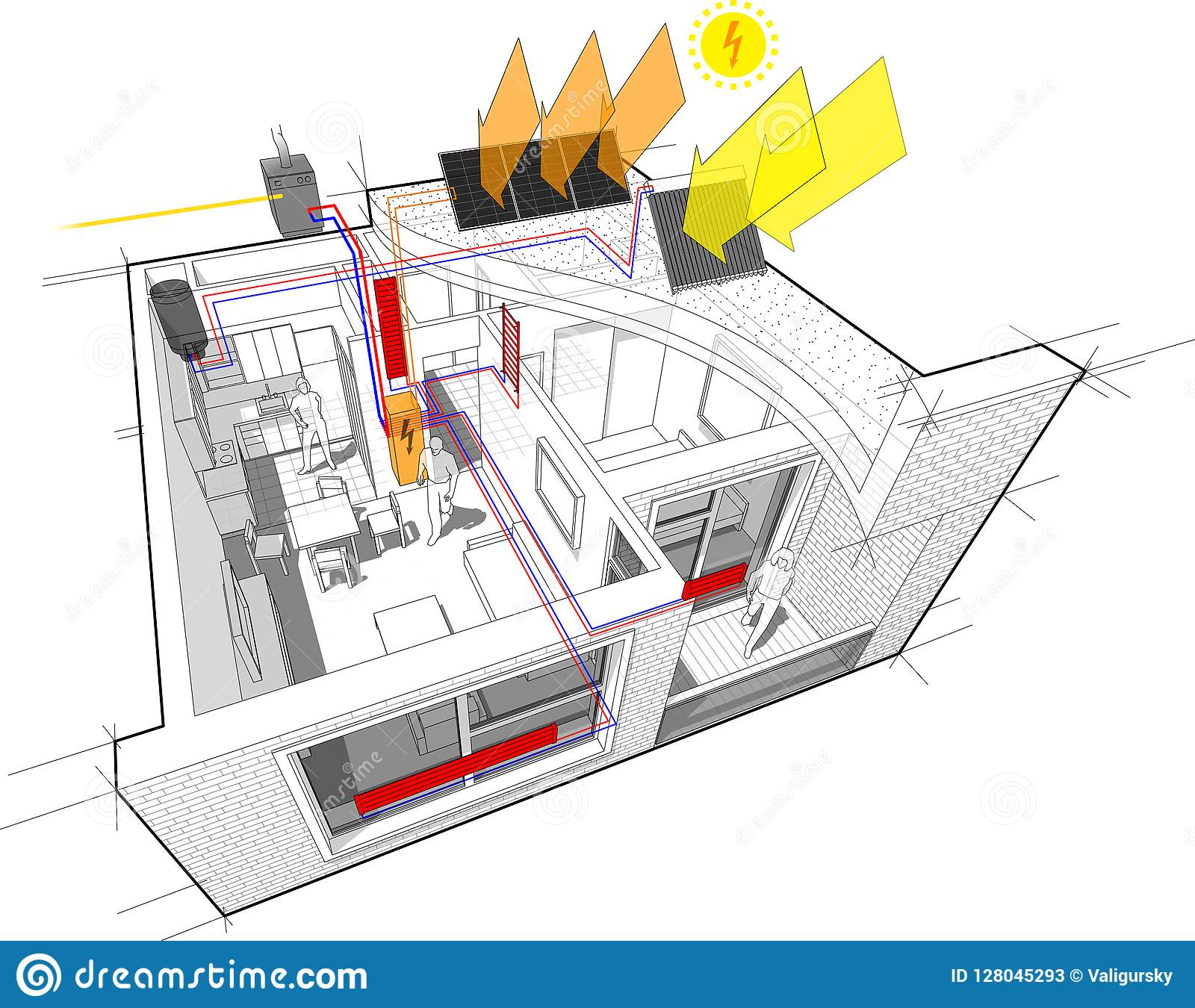 Home Radiator Diagram Trusted Schematics Mad Max Engine Apartment With Heating And Gas Water Boiler Heater