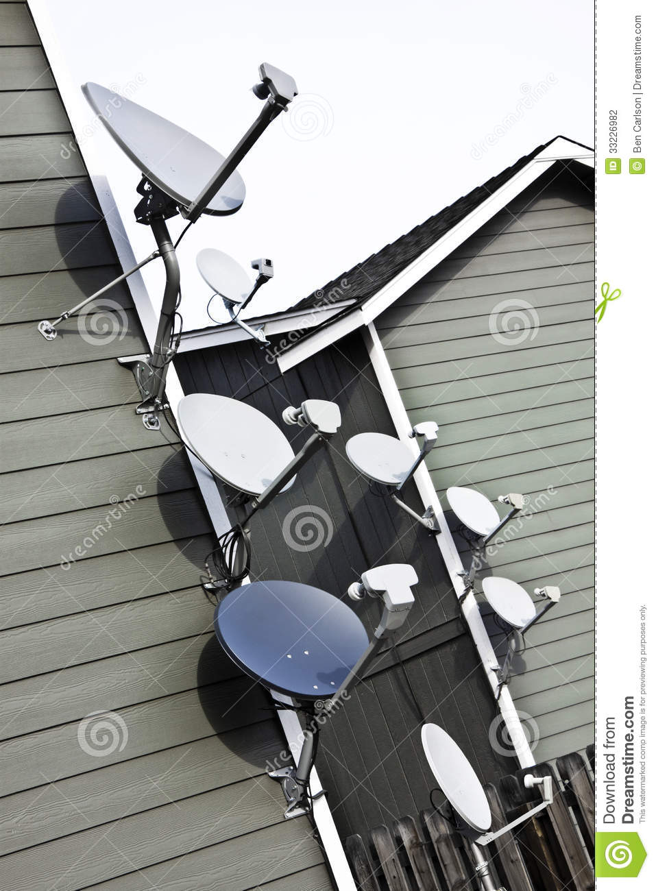 Apartment Eight Tv Satellite Dishes Tilted Stock