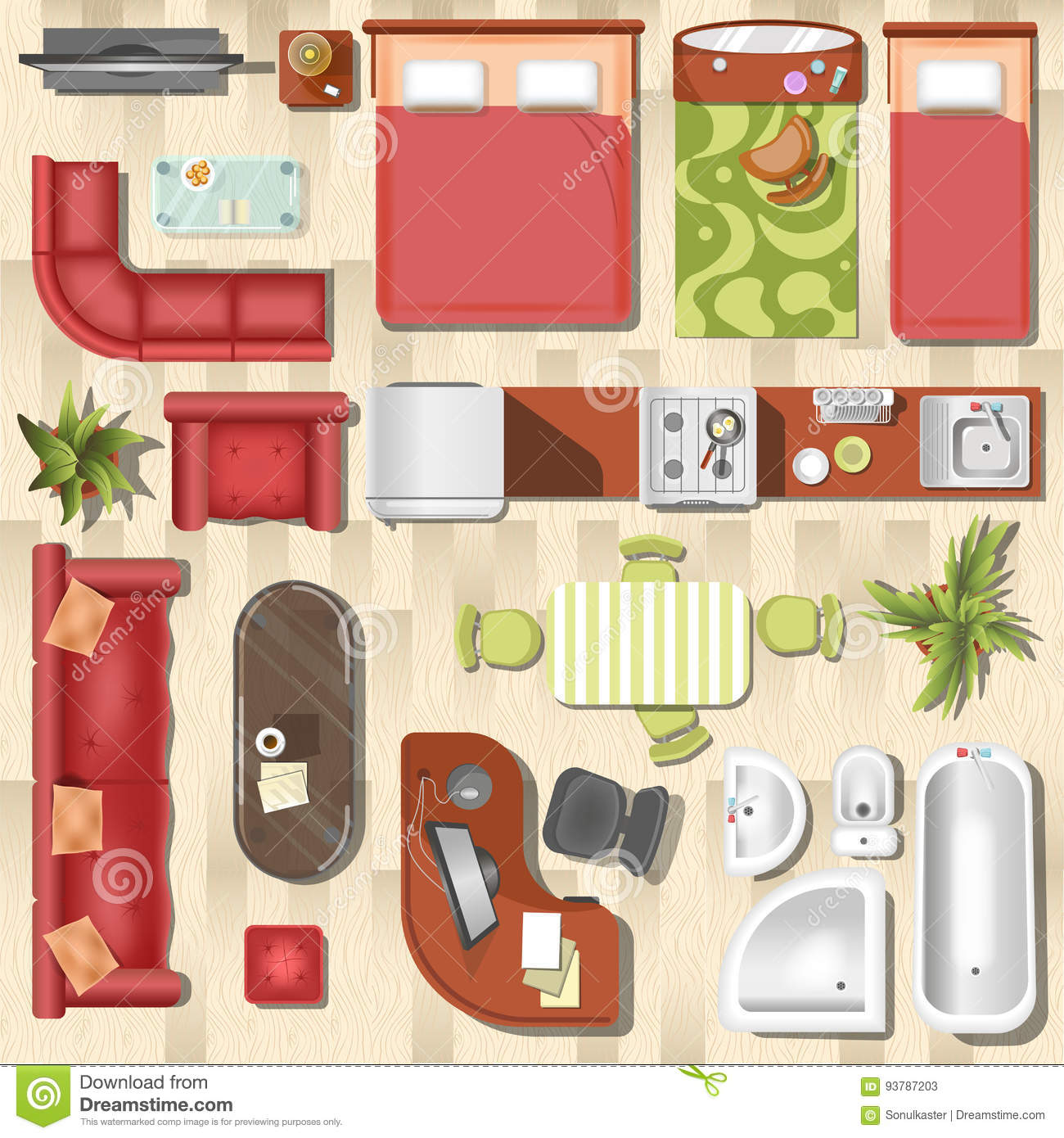 Top View Of Home Furniture Vector Illustration