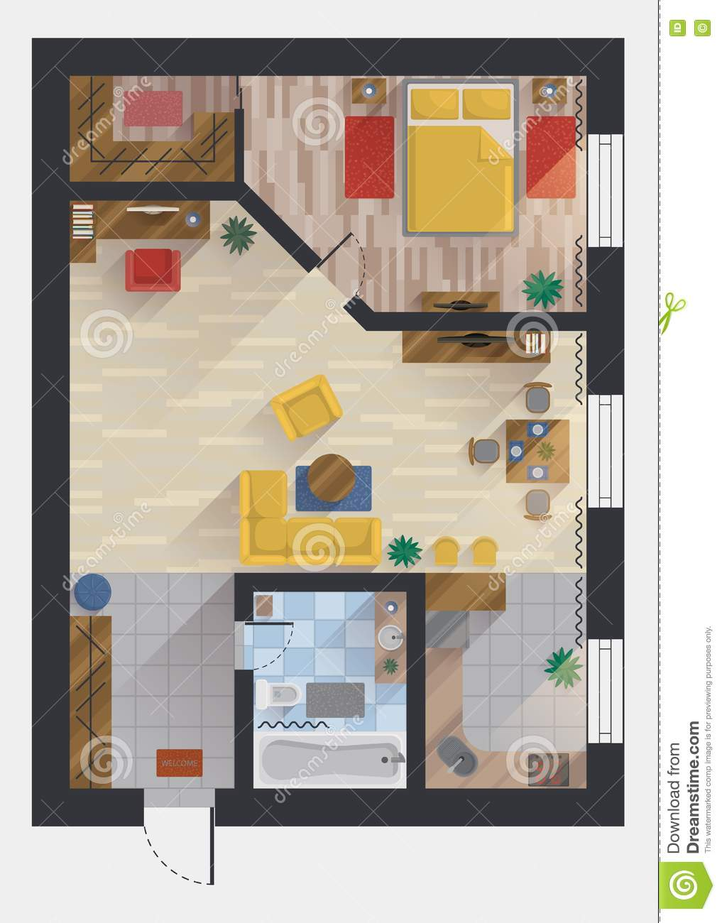 Apartment Or Flat House Floor Plan Top View Stock Vector Image 79304669