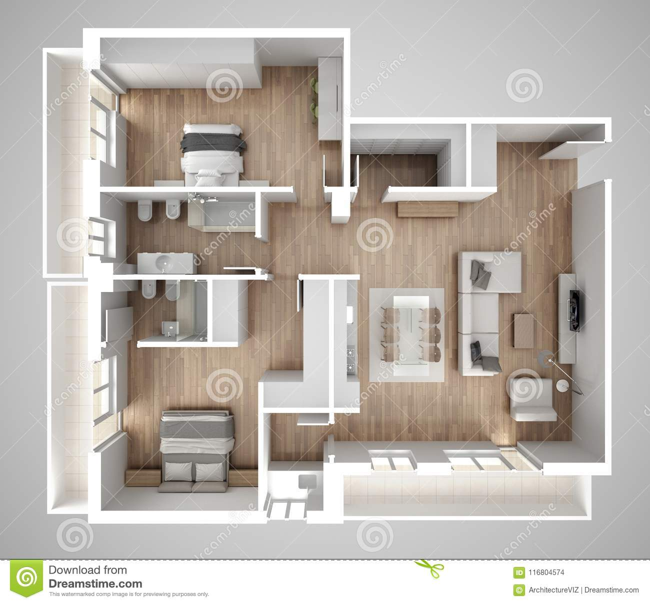 Apartment Flat Top View, Furniture And Decors, Plan, Cross