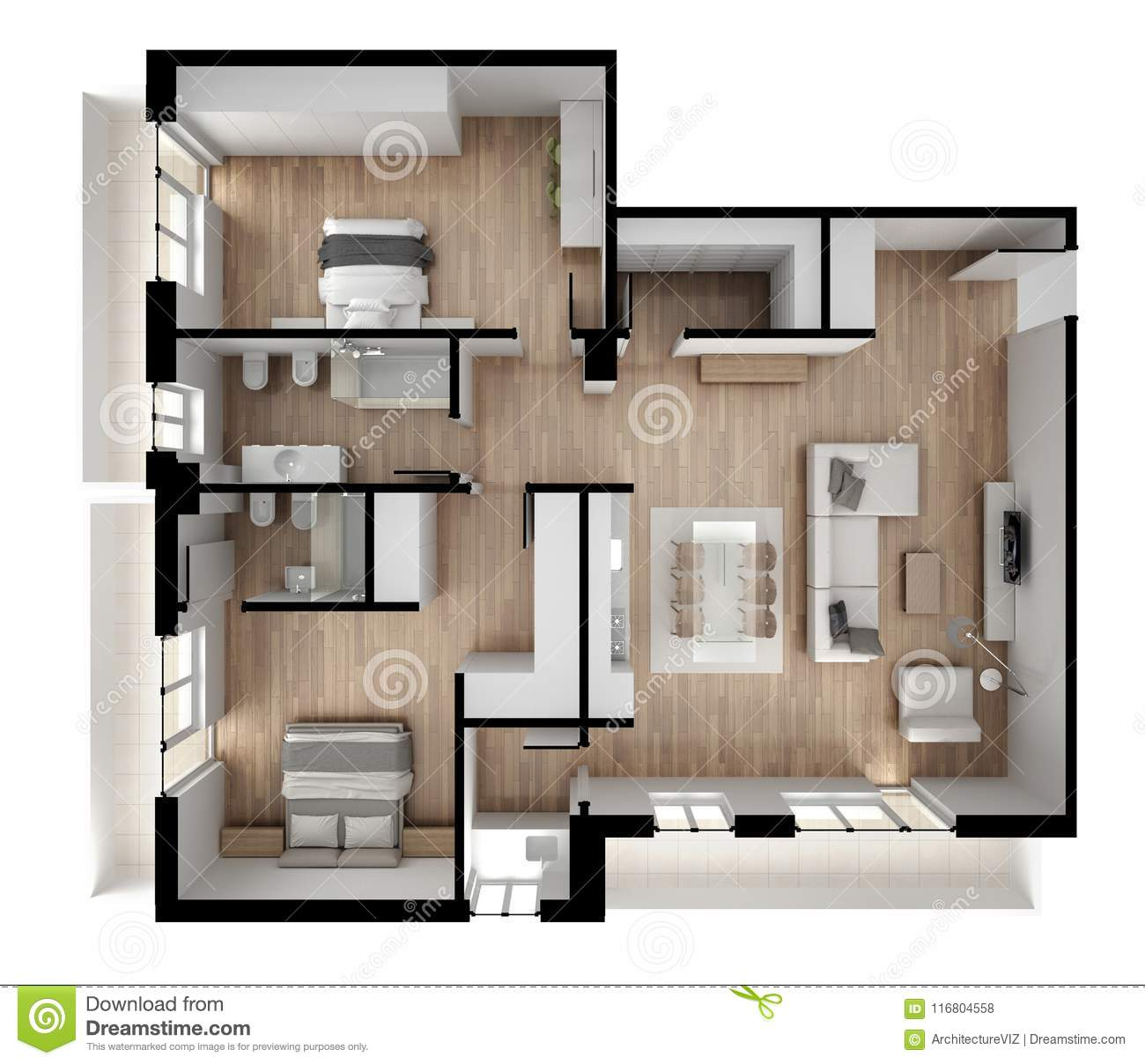 Flat Apartment Definition: Apartment Flat Top View, Furniture And Decors, Plan, Cross