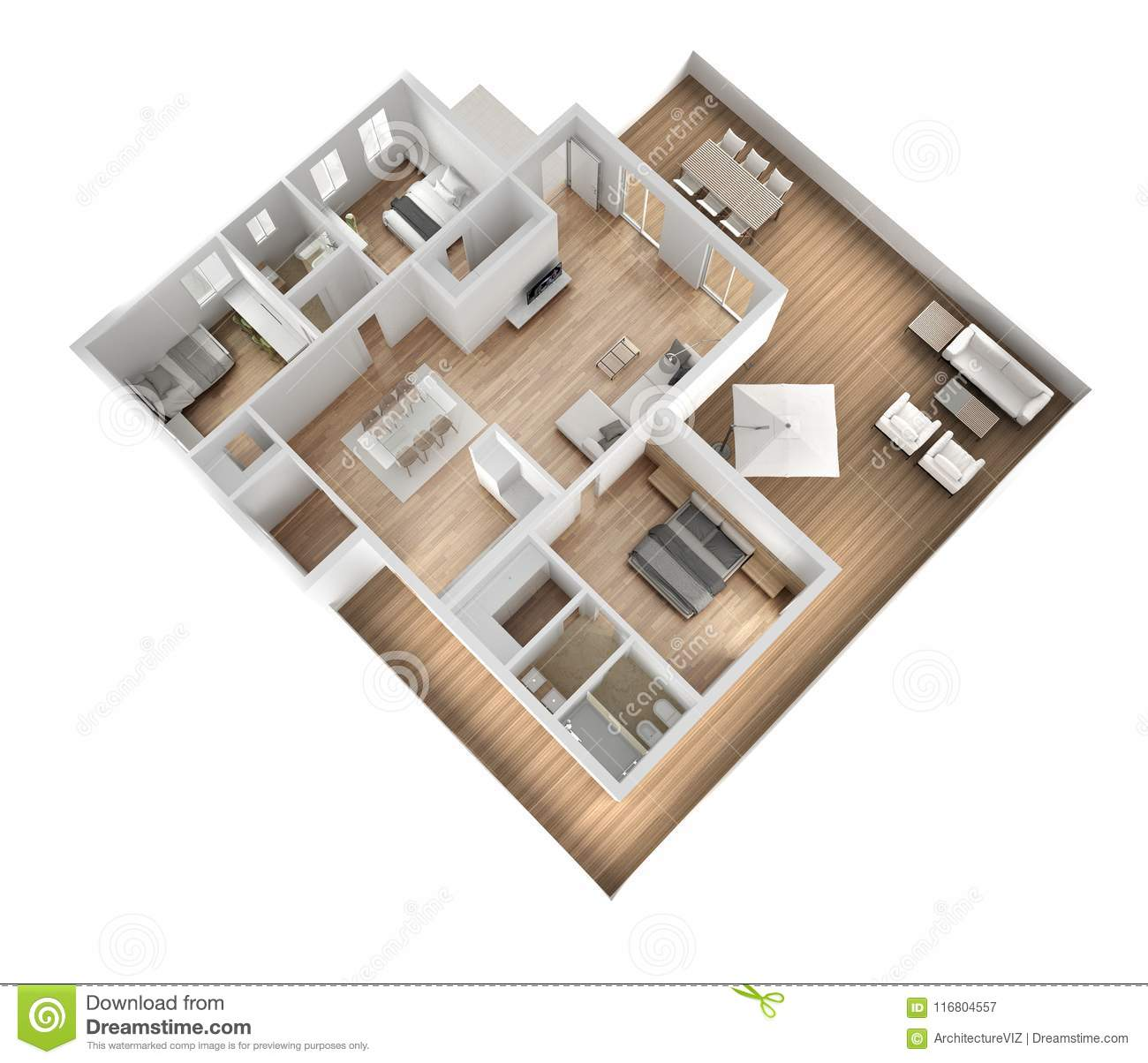 Apartment flat top view, furniture and decors, plan, cross section interior design, architect designer concept idea, white backgro