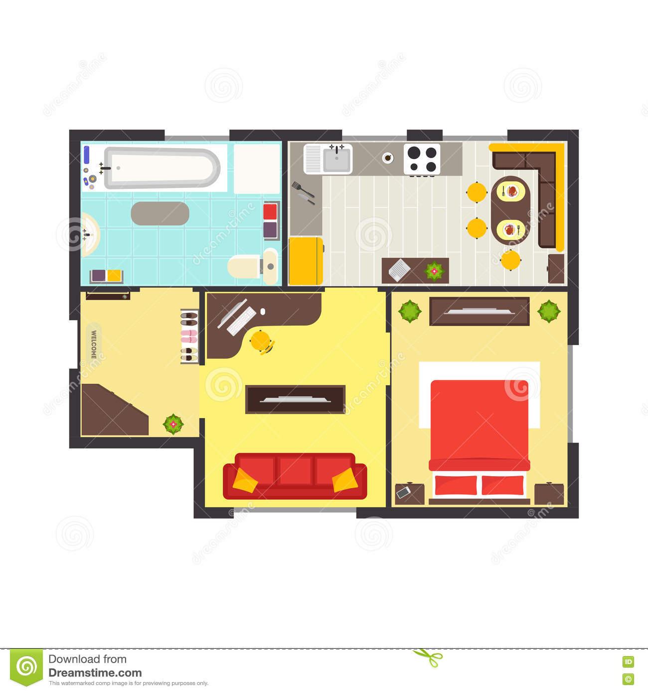 Best Site To Find An Apartment: Apartment Floor Plan With Furniture Top View. Vector Stock