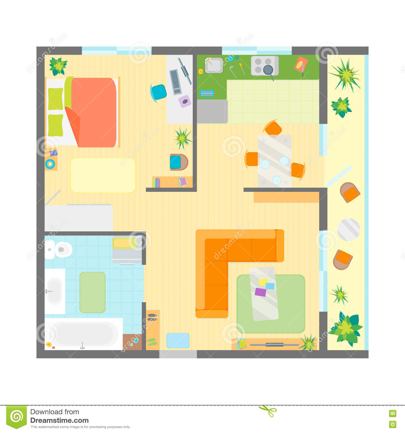 Apartment floor plan with furniture top view vector stock for Apartment design vector