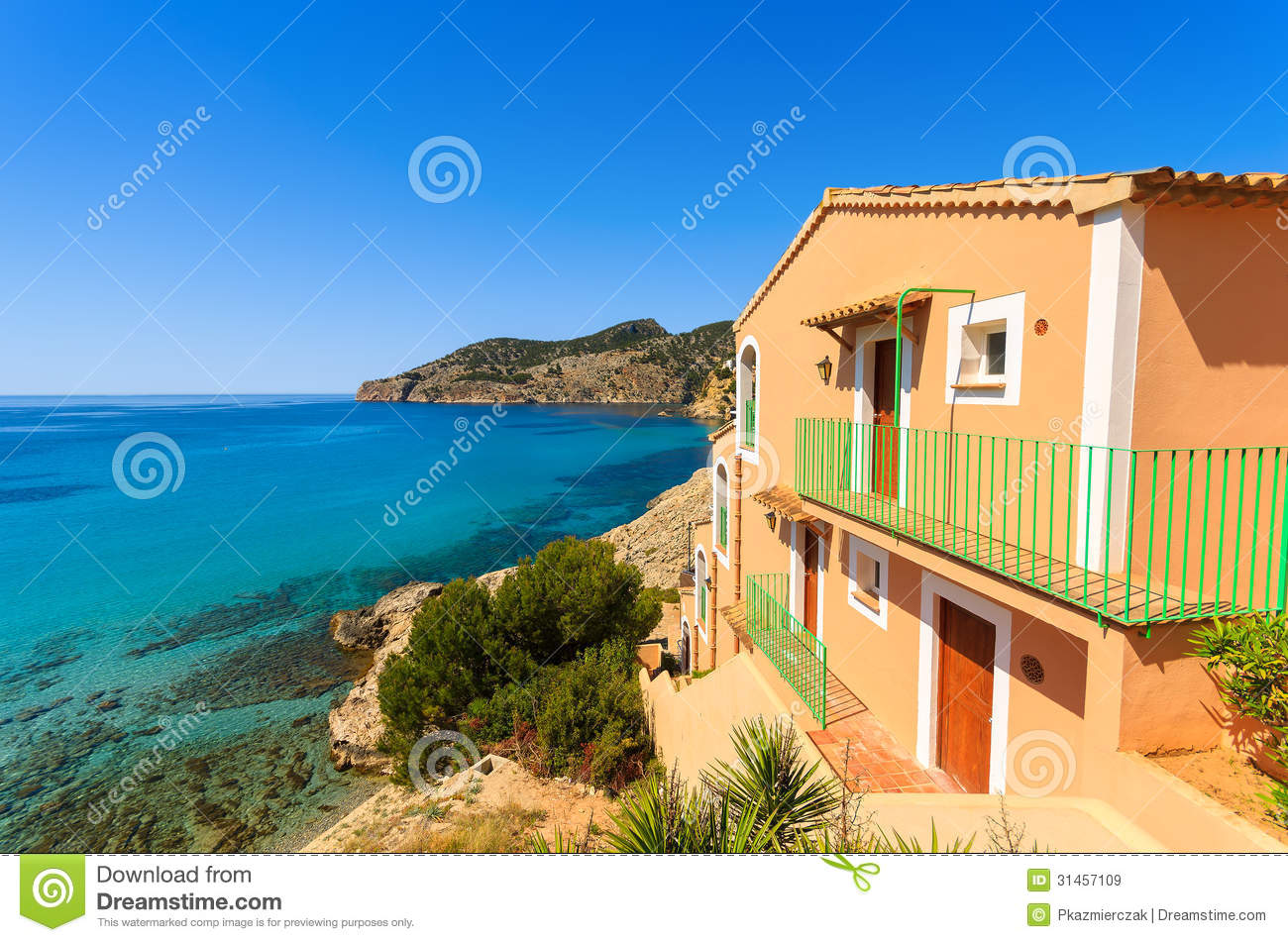 Apartment house view bay beach mountains royalty free for Beach house view