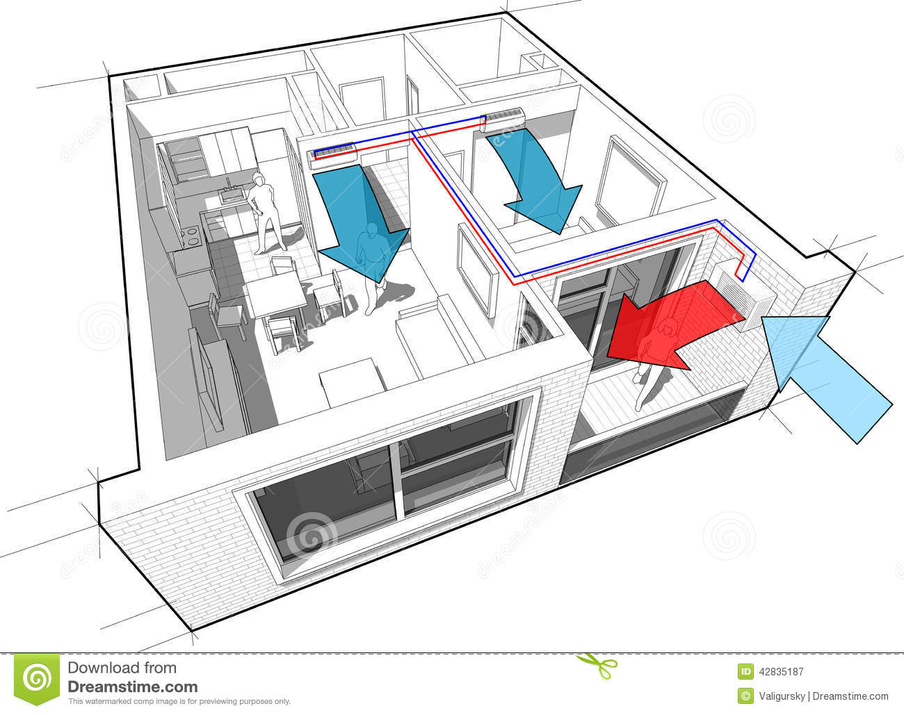 apartment with indoor wall air conditioning diagram stock