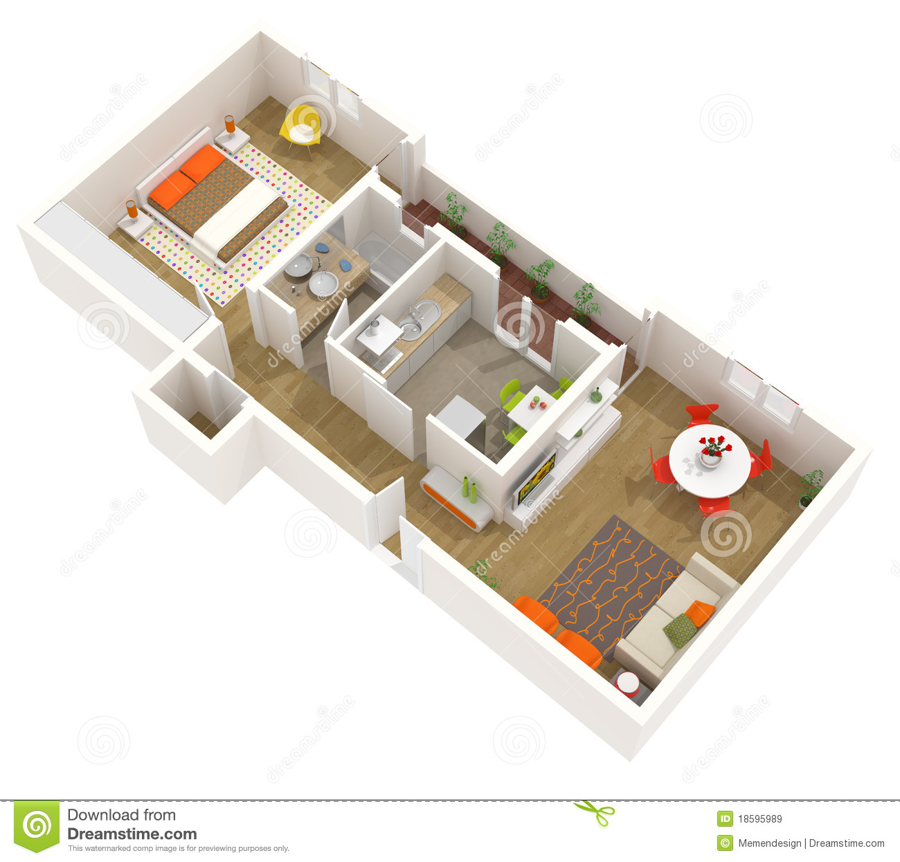 apartment interior design 3d floor plan stock illustration