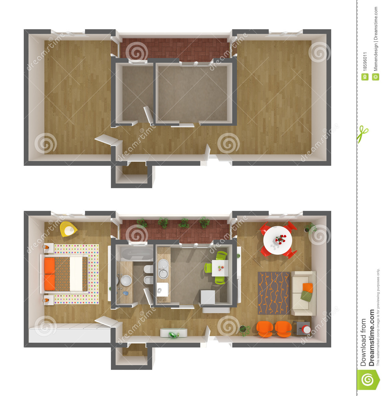 Apartment Interior Design 3d Top View Stock Illustration