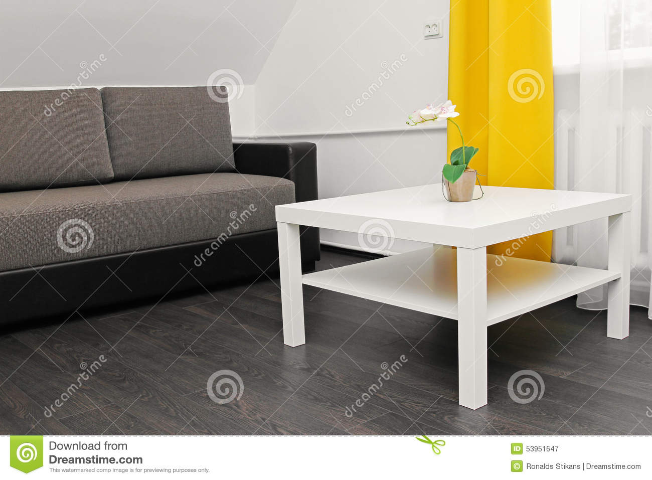 Apartment interior with sofa coffee table and yellow cur for Sofa table yellow