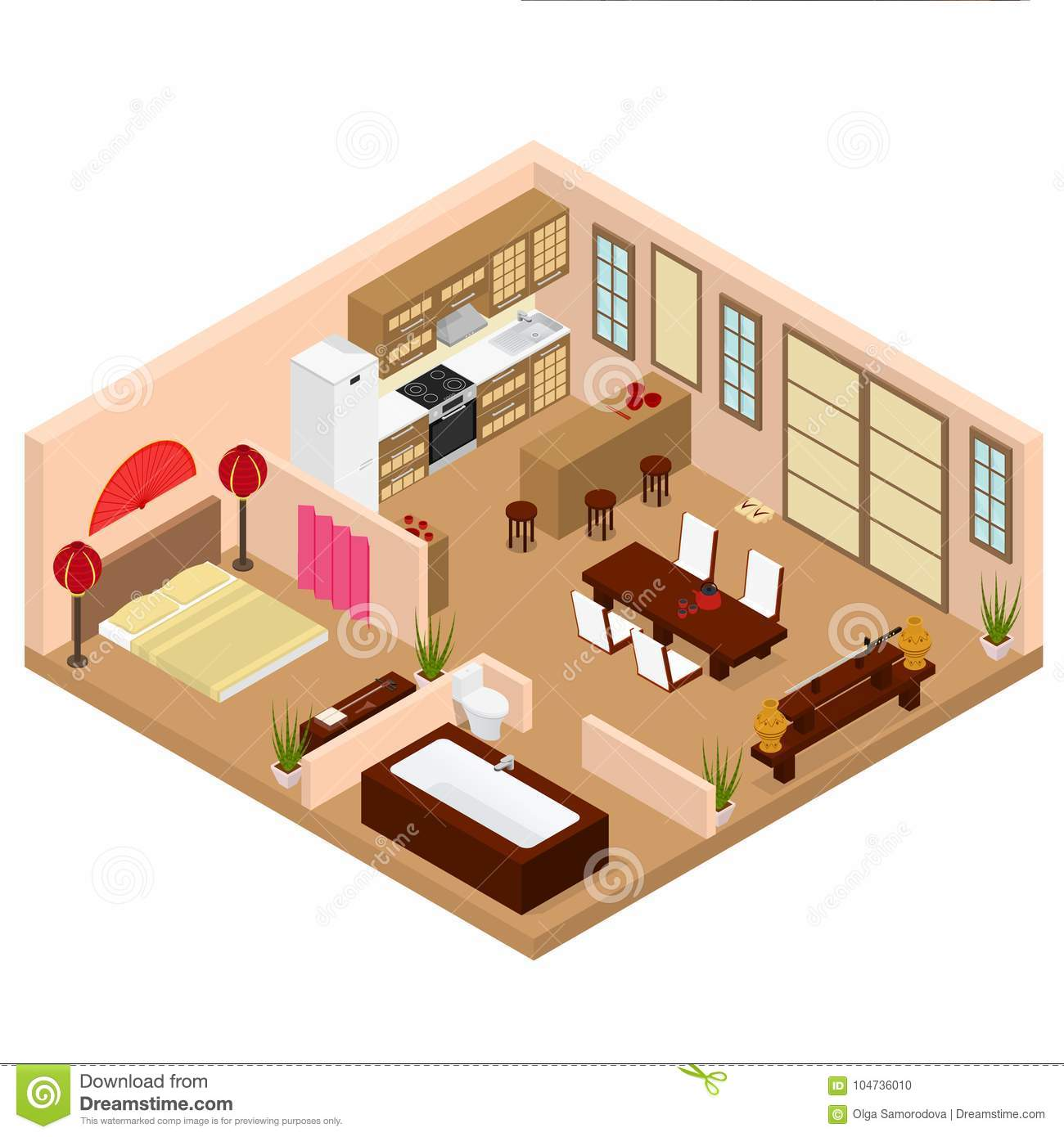Download Apartment Japanese Style Interior With Furniture Isometric View.  Vector Stock Vector   Illustration Of
