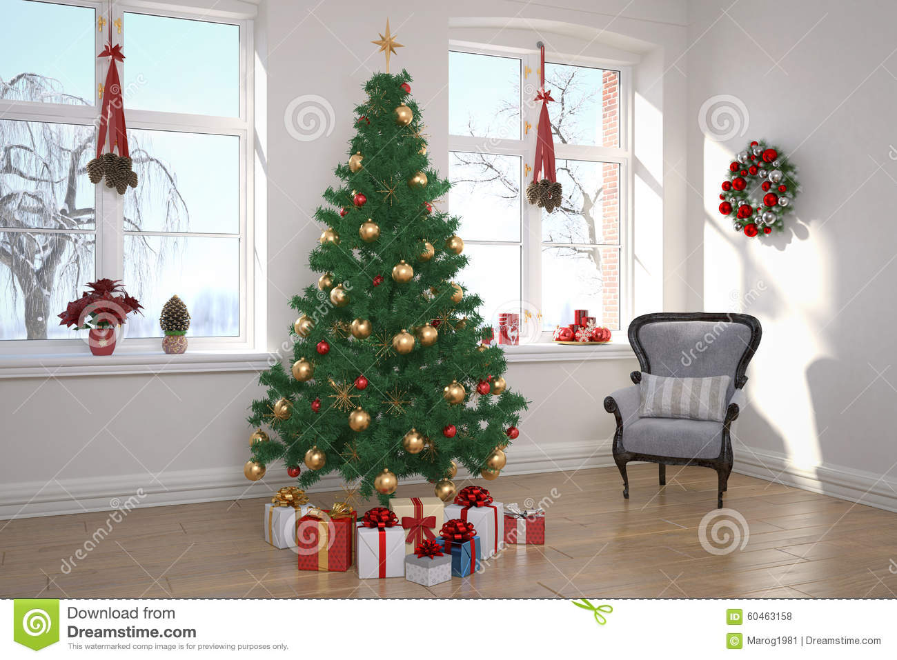 Apartment living room christmas stock photo image of wooden furnishing 60463158 for Christmas tree in living room photos