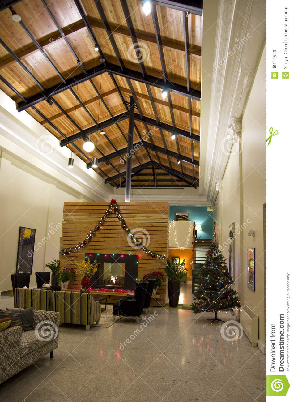 Apartment Lobby Christmas Tree Lights Stock Image Image