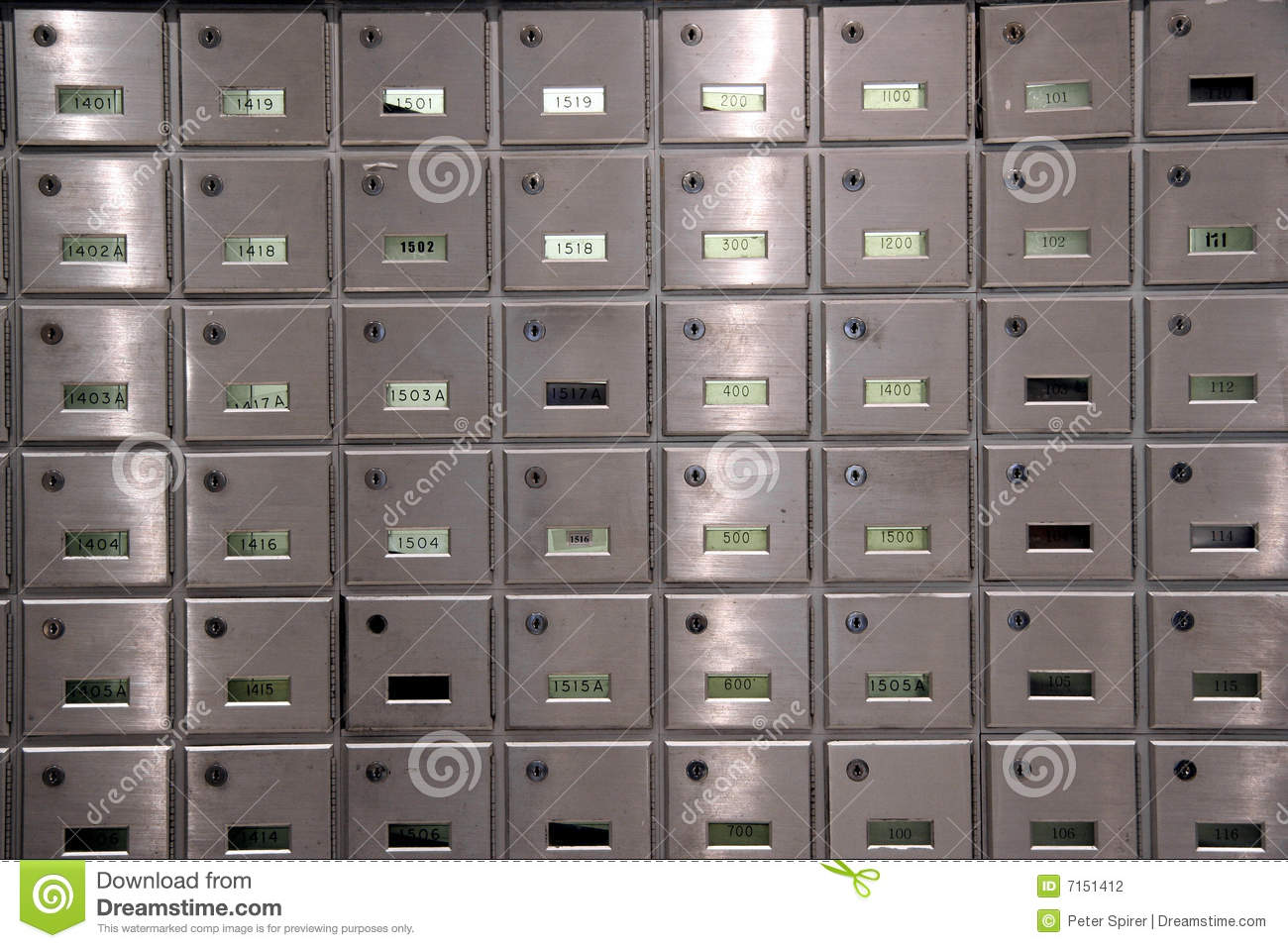 Apartment mailboxes stock photo. Image of lock, apartment - 7151412