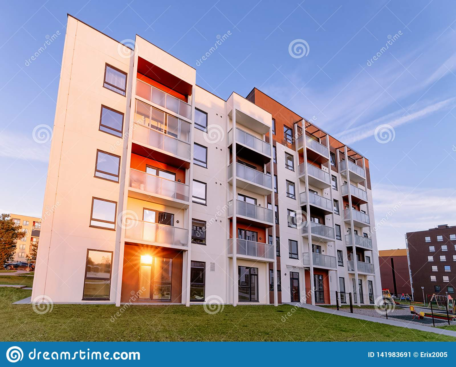 Apartment modern house and home residential building real estate sunset