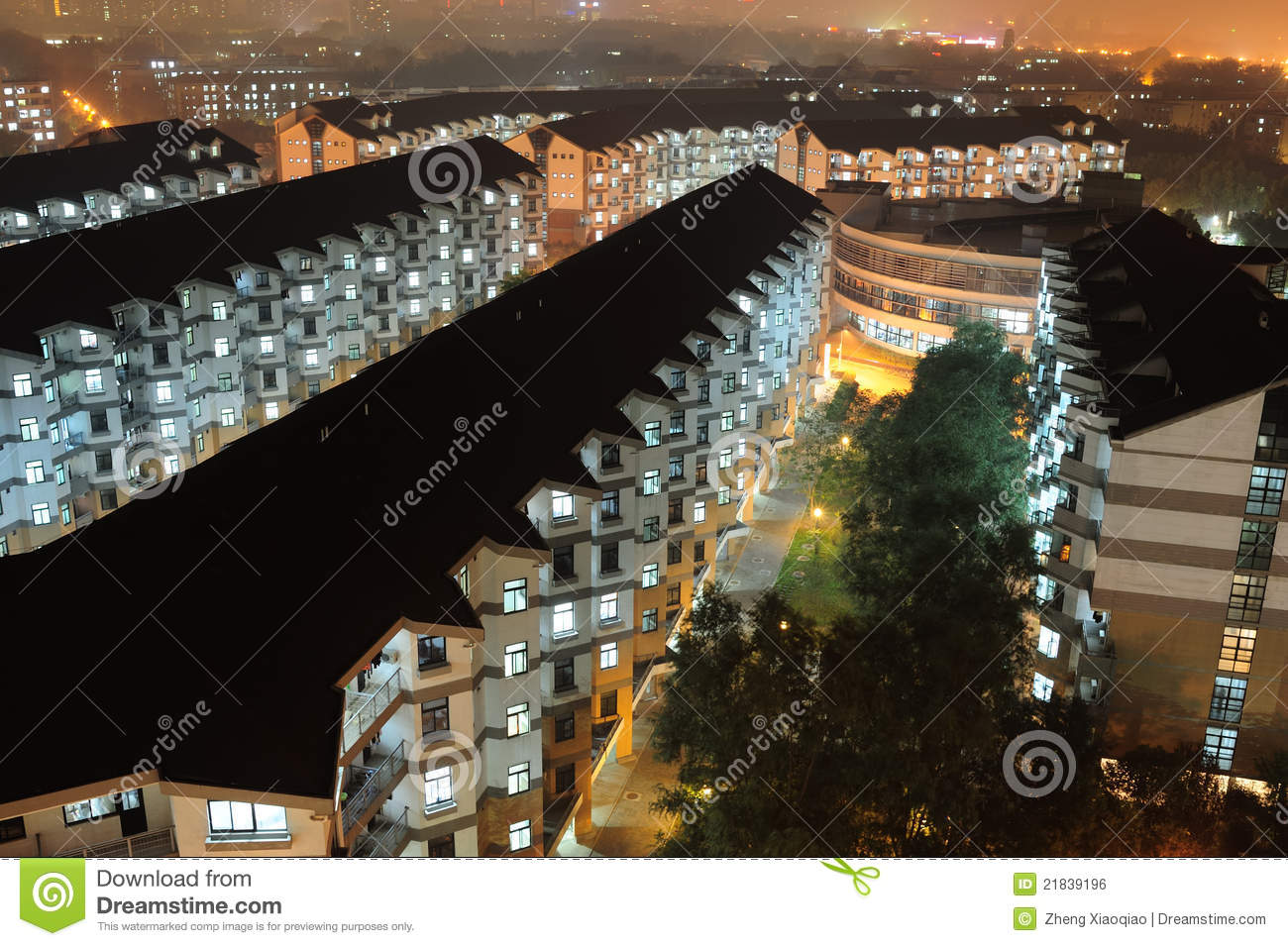 Download Apartment night scenes stock photo. Image of district - 21839196