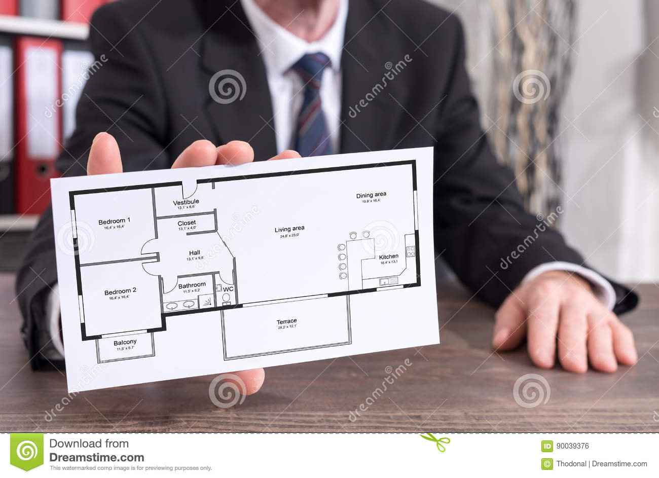 Apartment Plan Concept On An Index Card Stock Photo - Image