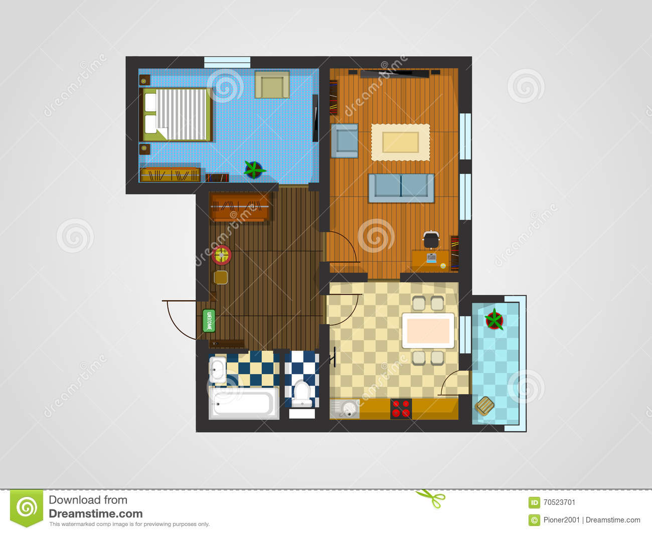 Apartment plan stock vector image 70523701 for Apartment stock plans
