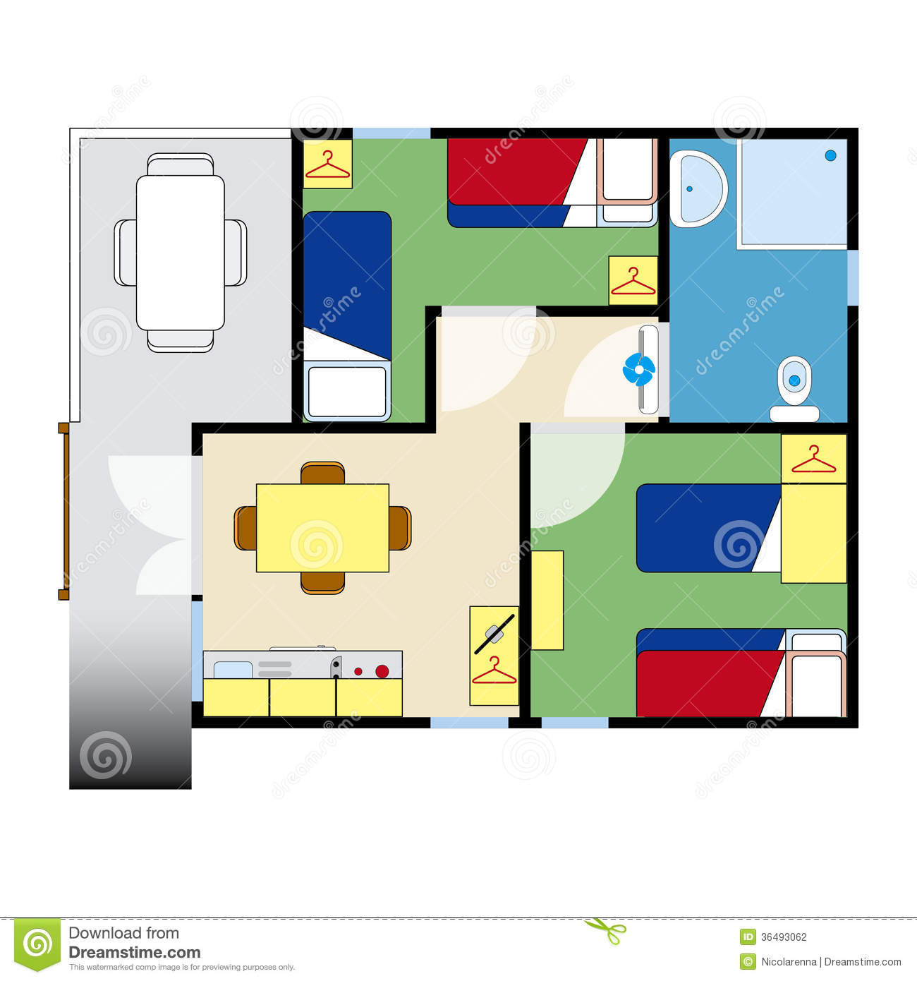 Apartment plan stock photography image 36493062 for Apartment stock plans