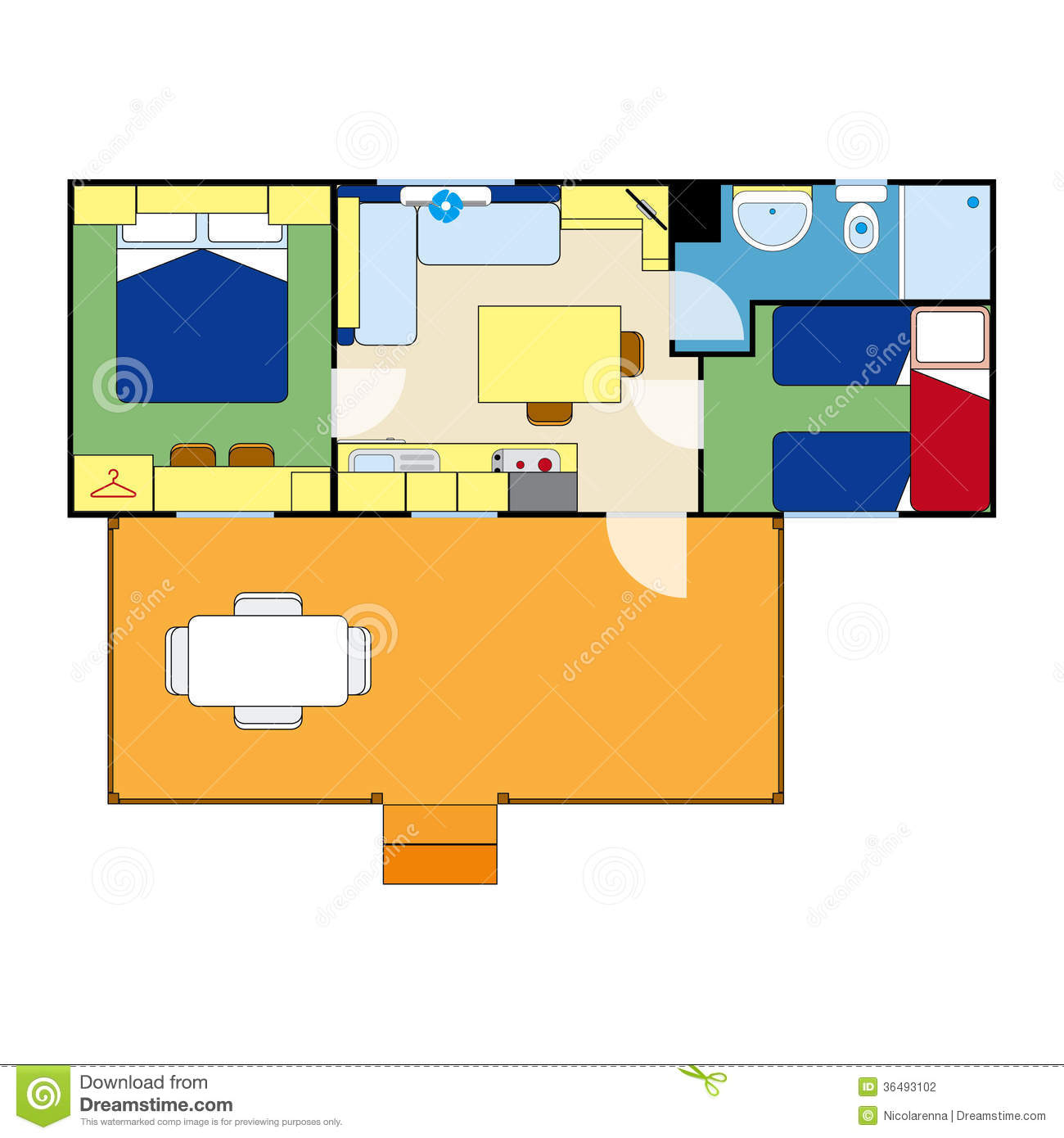 Apartment plan stock photography image 36493102 for Apartment stock plans
