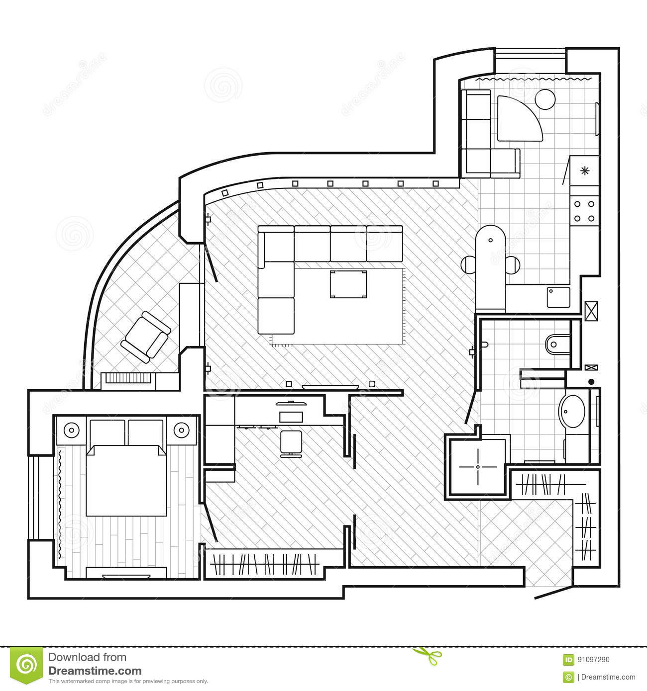 Black White Interior Design Furniture For Floor Plan ~ Top view of home furniture vector illustration